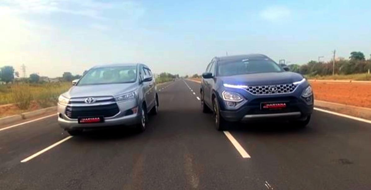 ड्रैग रेस में Tata Safari बनाम Toyota Innova Crysta