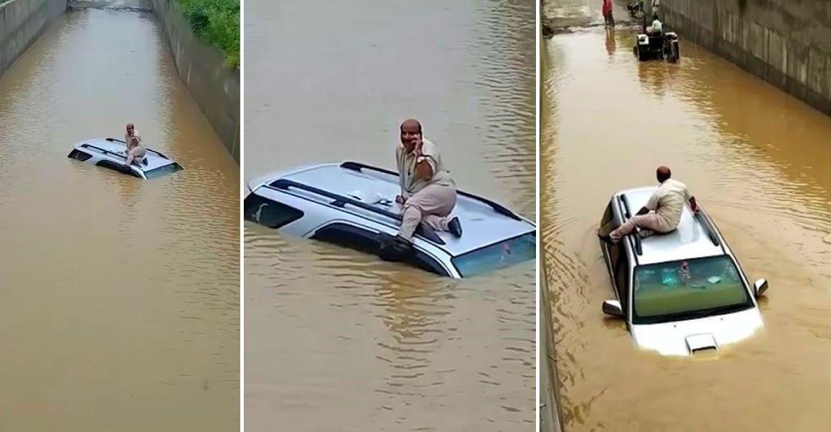 बाढ़ वाले अंडरपास में फंसी Toyota Fortuner: ट्रैक्टर से बचाया गया