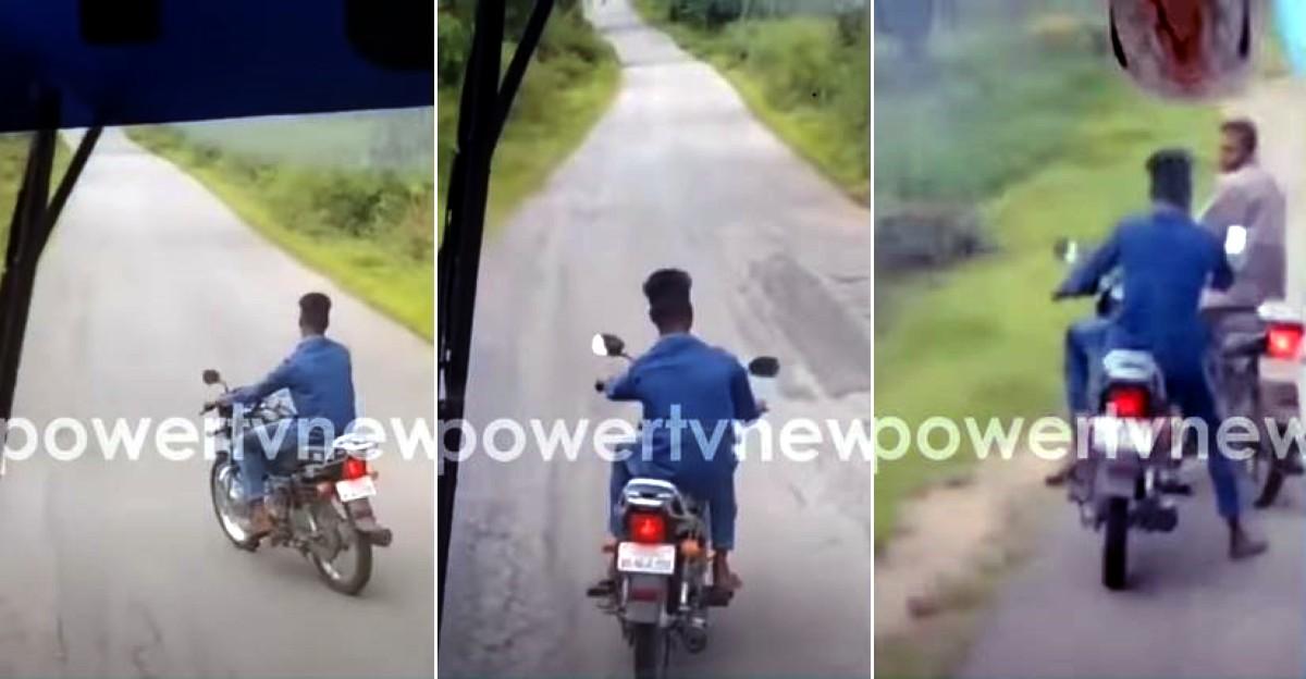Hero Splendor पर सवार युवक ने सरकारी बस को 4 किलोमीटर तक रोका: पीटा गया [वीडियो]
