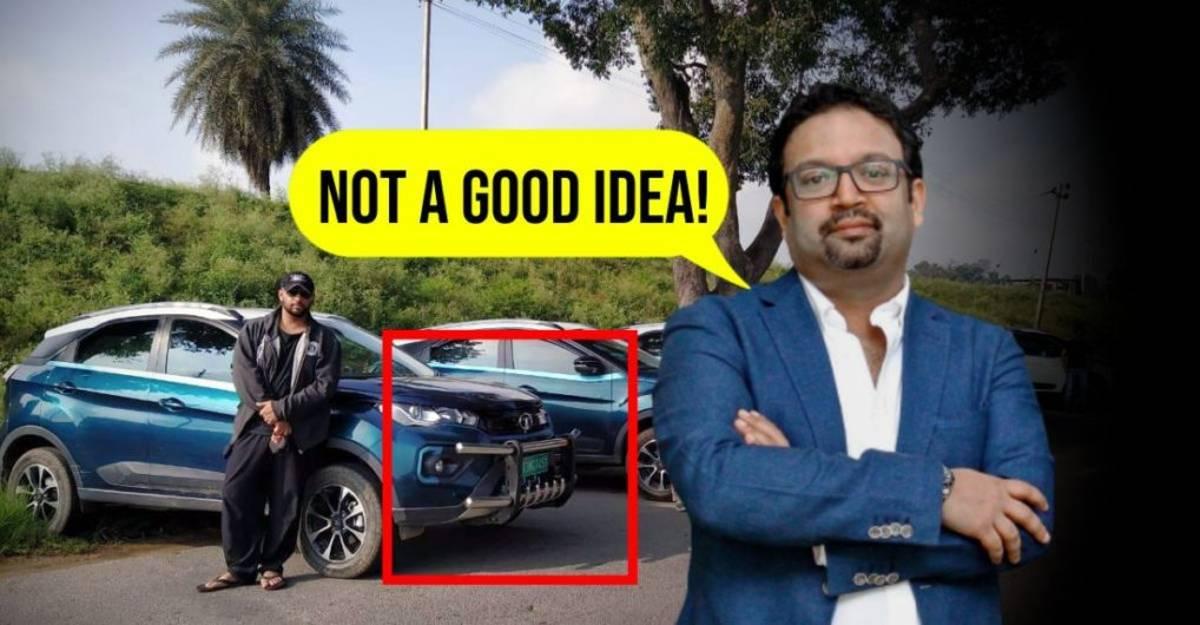 Tata Nexon EV पर मालिक ने बुलबार फिट किया: कार डिजाइनर प्रताप बोस खुश नहीं