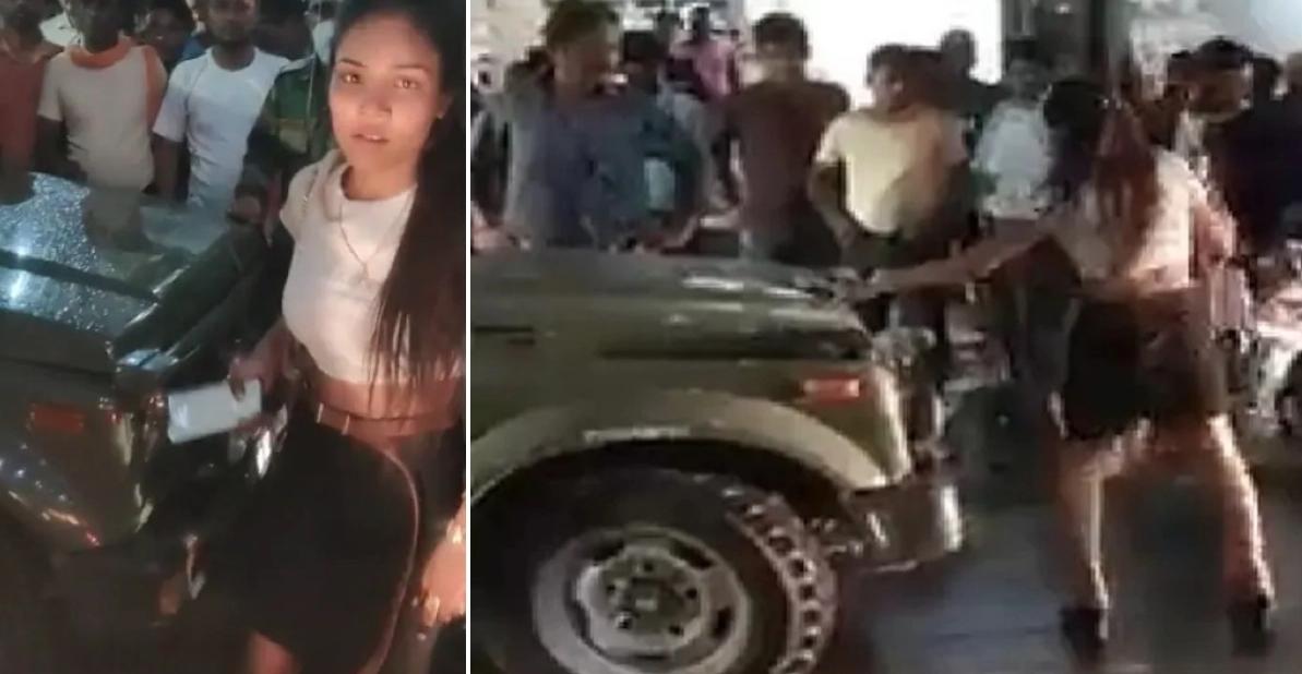 नशे में धुत मॉडल ने ग्वालियर में सेना की Maruti Gypsy में तोड़फोड़ की [वीडियो]