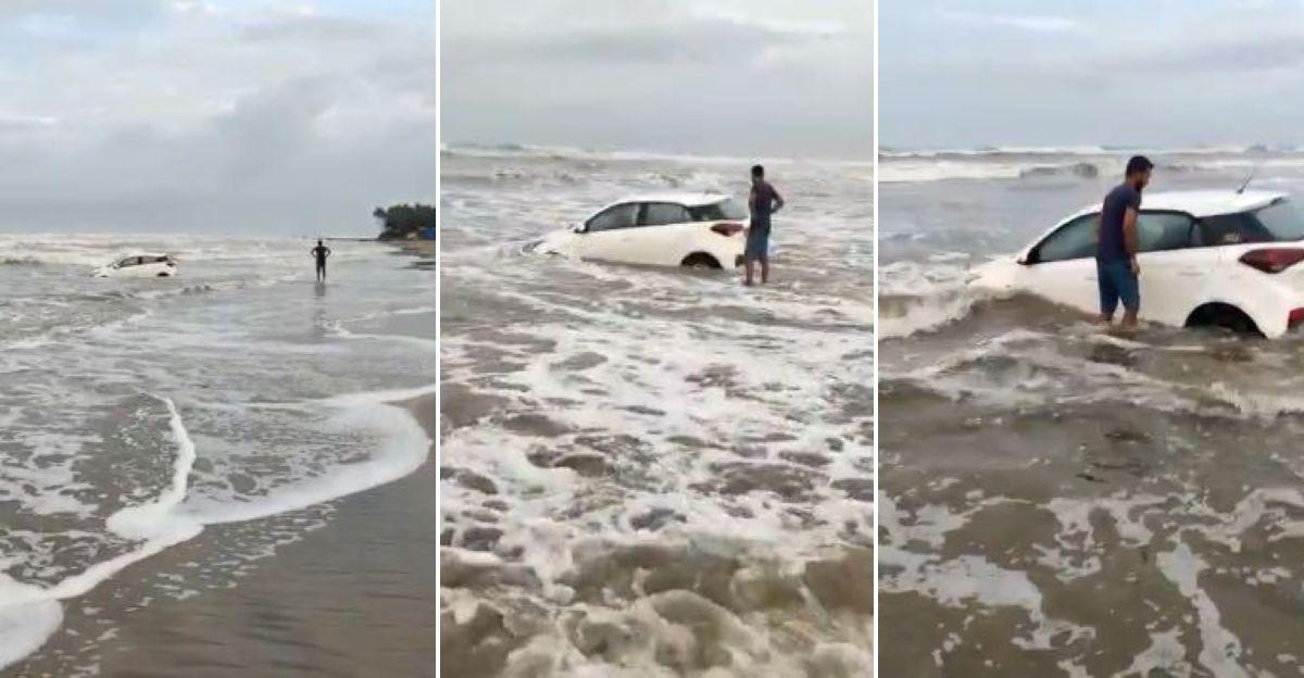 Hyundai i20 के मालिक समुद्र तट पर गाड़ी चलाते हुए: समुद्र में फंस जाते हैं