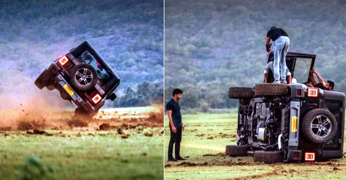 बिल्कुल नई Mahindra Thar SUV ड्रिफ्टिंग के बाद Topples