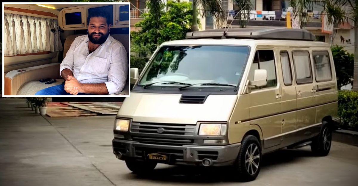 खूबसूरती से रखा गया Tata Winger Caravan पहियों पर एक बैठक कक्ष है: 6.95 लाख रुपये में बिक रहा है