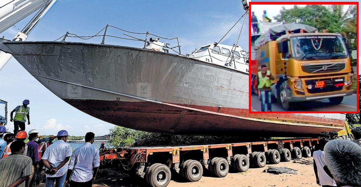 Indian Navy का युद्धपोत 106 पहियों वाले Volvo ट्रक पर केरल के गाँव की सड़कों पर यात्रा करते हुए  [वीडियो]