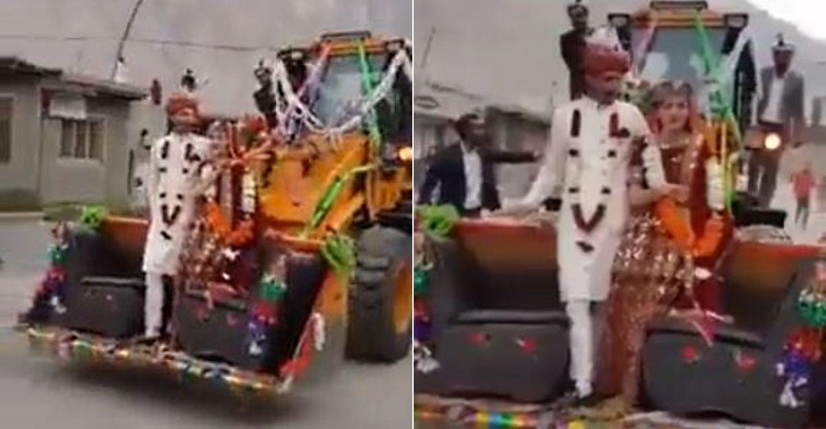 पाकिस्तान में नवविवाहित जोड़े ने JCB के लिए डंप की कार: वीडियो हुआ वायरल